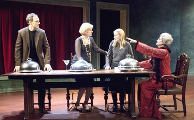 (left to right) Coburn Goss, Mary Beth Fisher, Polly Noonan and ensemble member Molly Regan  in Dead Man's Cell Phone by Sarah Ruhl, directed by Jessica Thebus at Steppenwolf Theatre March 27 – July 27, 2008.