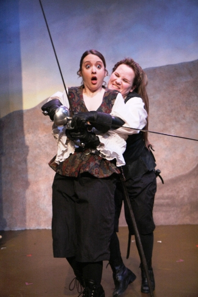Isabel (Meghan M. Martinez) and Diana (Stephanie Repin) work through a disagreement in Babes With Blades\' \