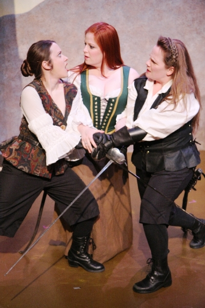 Isabel (Meghan M. Martinez), Eliana (Rachel Stubbs), and Diana (Stephanie Repin) meet in Babes With Blades\' \
