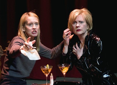 Polly Noonan (left) and Mary Beth Fisher (right) in Dead Man's Cell Phone by Sarah Ruhl, directed by Jessica Thebus at Steppenwolf Theatre March 27 – July 27, 2008.  Photo by Michael Brosilow.