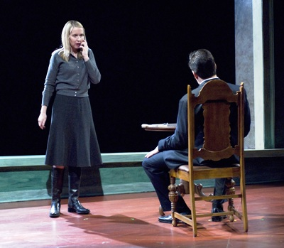 Polly Noonan (left) and Marc Grapey (right) in Dead Man's Cell Phone by Sarah Ruhl, directed by Jessica Thebus at Steppenwolf Theatre March 27 – July 27, 2008.