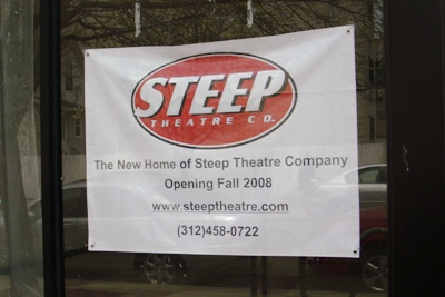 Sign posted at Steep Theatre\'s new location