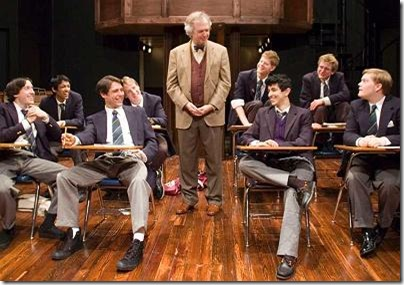 Hector (Donald Brearley, center) teaches his students (from left) Scripps (Will Allan), Crowther (Govind Kumar), Dakin (Joel Gross), Rudge (Michael Peters), Lockwood (Rob Fenton), Akthar (Behzad Dabu), Timms (Brad Bukauskas) and Posner (Alex Weisman) in rather unconventional ways in