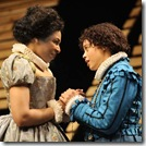 "Responding to the deaths of their brothers, Olivia (Karen Aldridge, left) and Viola (Michelle Beck, right) are a study in contrasts. Life-affirming, Viola dresses as her brother and falls in love with the handsome and rich Duke Orsino. Olivia withdraws from the world, until she is unveiled by the Duke's page ""Cesario""—and, in that exchange, falls in love."