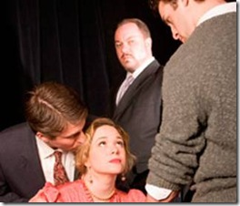 They want a piece of her:  George Tesman (Ian Novak), Mackenzie Kyle (Hedda Gabler), Jon Steinhagen (Judge Brack), and Ian Paul Custer (Eilert Lovborg).