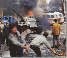 """Tanks moving in during """"Prague Spring"""", 1968"""