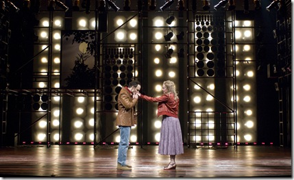 Pictured in Goodman Theatre's production of Rock 'n' Roll by Tom Stoppard, directed by Charles Newell are (l to r) Timothy Edward Kane (Jan) and Mary Beth Fisher (Esme (older)).