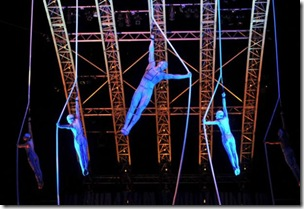 Cirque performers limbering up for later orgies?