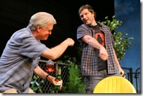 Pictured in Goodman Theatre's production of The Crowd You're In With by Rebecca Gilman, directed by Wendy C. Goldberg are (l to r) Rob Riley (Tom) and Sean Cooper (Dwight). Photo by Eric Y. Exit