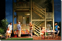 Pictured in Goodman Theatre's production of The Crowd You're In With by Rebecca Gilman, directed by Wendy C. Goldberg are (l to r) Linda Gehringer (Karen), Coburn Goss (Jasper), Rob Riley (Tom), Kiff Vanden Heuvel (Dan), Stephanie Childers (Windsong) and Janelle Snow (Melinda). Photo by Eric Y. Exit