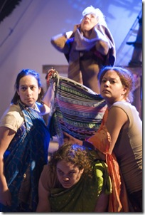 The ghost of Polydorus possesses the women of the chorus (clockwise from left: Cynthia Shur, Lorraine Freund, Sienna Harris, Emily Friedrick).