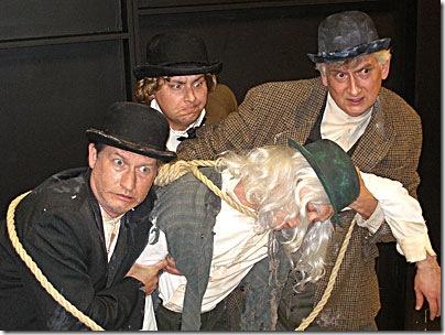 l-r: Bob Wilson (Estragon), Noah Simon (Pozzo), Andrew Jessop (Lucky), Mike Nowak (Vladimir)