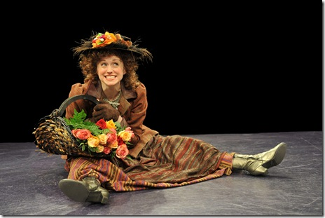 MY FAIR LADY--Heidi Kettenring as Eliza (with flowers)