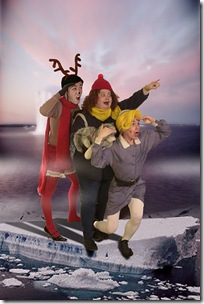 From left- Rudolph, Yukon, and Herbiesee the Island of Misfit Toys in the distance in Hell in a Handbag's Ruolph the Red-Hosed Reindeer.Photo by Rick Aguilar