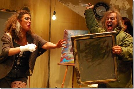 Freud stabs painting