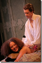 horiz Emilie (Sienna Harris) and Valmont (Nick Sandys)