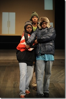 (from left) K-Gar Ollie (Leslie Ann Sheppard), A.I. Josh (Namir Smallwood) and T-Mac Sam (Samuel G. Roberson, Jr.) . Photo credit: Liz Lauren