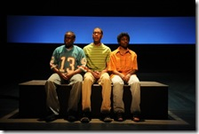 (from left) T-Mac Sam (Samuel G. Roberson, Jr.), A.I. Josh (Namir Smallwood), and K-Gar Ollie (Leslie Ann Sheppard) in Victory Gardens Theater's Chicago premiere of The Lost Boys of Sudan (photo credit: Liz Lauren)