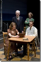 Seated_ Melanie Keller (Mibs) and Matt Schwader (Desmond).  Standing_ John Mahoney (Drumm) and Linda