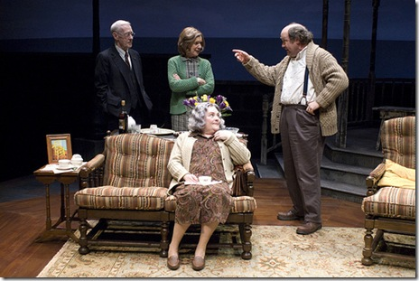 Seated_ Penny Slusher (Dorothy).  Standing_ John Mahoney (Drumm), Linda Kimbrough (Mary) and Bradley