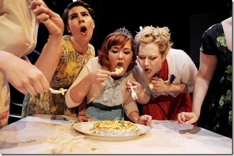 "Pictured (left to right): Beth Stelling, Maari Suorsa, Mary Hollis Inboden and Meg Johns in The New Colony Ensemble's world premiere ""Five Lesbians Eating a Quiche,"" one of the 19 original short works in SKETCHBOOK  X, a mixed media festival of theatre, music and video presented by Collaboraction, now in its 10th year. The show runs through June 27, 2010 at The Chopin Theatre. http://www.collaboraction.org"