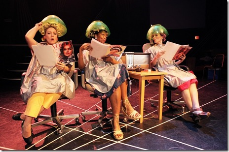 "Pictured (left to right): Beth Stelling, Maari Suorsa, Mary Hollis Inboden and Meg Johns in The New Colony Ensemble's world premiere ""Five Lesbians Eating a Quiche,"" one of the 19 original short works in SKETCHBOOK  X, a mixed media festival of theatre, music and video presented by Collaboraction, now in its 10th year. The show runs through June 27, 2010 at The Chopin Theatre"