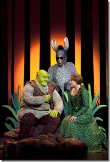 Shrek (L-to-R) Eric Petersen as Shrek, Alan Mingo as Donkey, Haven Burton as Princess Fiona