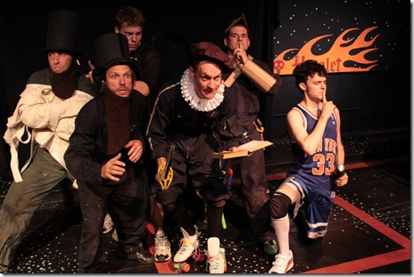 "Jay Torrence, John Pierson, Trevor Dawkins, Ryan Walters, Anthony Courser, Brennan Buhl - from Neo-Futurists' ""Daredevil's Hamlet"""