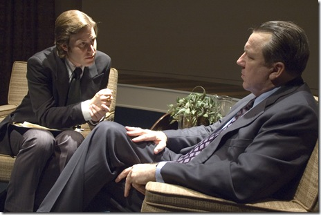 Frost (Andrew Carter) interviews Nixon (Terry Hamilton)