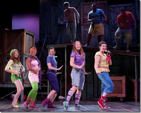 The ensemble of GODSPELL rocks out on O BLESS THE LORD, MY SOUL - (front r to l) Sarah Grant, Tiffany Cox, Richelle Meiss, Amy Steele, Jennifer Oakley.  (Back r to l) Greg Walters, Frederick Harris, Kevin O'Brien.
