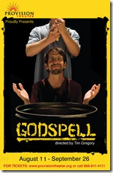 Godspell poster, featuring Syler Thomas as Jesus