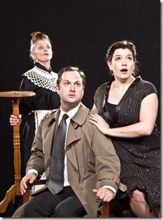"(left to right) Cynthia (Meredith Bell Alvarez) flirts with Inspector Hound (Joseph Stearns) while Mrs. Drudge (Mary O'Dowd) takes notice, in Tom Stoppard's 1968 satire ""The Real Inspector Hound,"" Signal Ensemble Theatre's inaugural production in their own venue. Photo by Johnny Knight"
