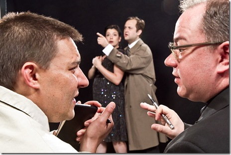 "(left to right) Moon (Philip Winston) and Birdboot (Jon Steinhagen) comment on the play while Cynthia (Meredith Bell Alvarez) and Inspector Hound (Joseph Stearns) act in the play, in Tom Stoppard's 1968 satire ""The Real Inspector Hound,"" Signal Ensemble Theatre's inaugural production in their own venue - running through September 18."