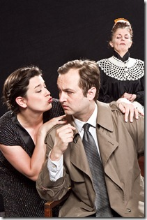 "(left to right) Mrs. Drudge (Mary O'Dowd), Inspector Hound (Joseph Stearns), and Cynthia (Meredith Bell Alvarez) react to a loud noise outside of the house, in Tom Stoppard's 1968 satire ""The Real Inspector Hound,"" Signal Ensemble Theatre's inaugural production in their own venue.  Photo by Johnny Knight"
