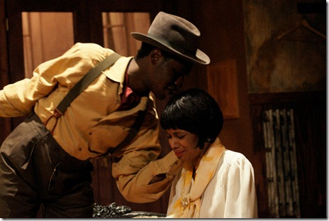 "Kelly Owen as Angel Allen and Jaren Kyei Merrell as Guy Jacobs in ""Blues For An Alabama Sky"" at Chicago's Stage 773"