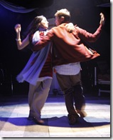 """Pictured (left to right): Mouzam Makkar (as Dahna) and Joel Gross (as Alan) in """"1001"""". Photo by Saverio Truglia."""