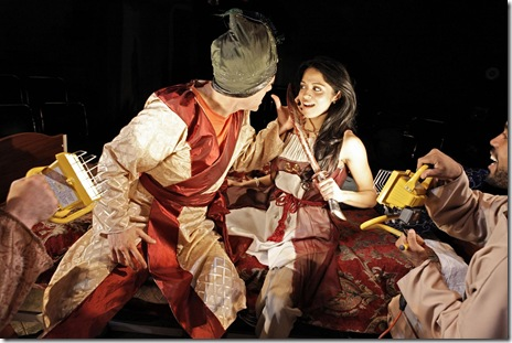 "Pictured (left to right): Joel Gross (as Shahriyar) and Mouzam Makkar (as Scheherazade) in ""1001"". Photo by Saverio Truglia"