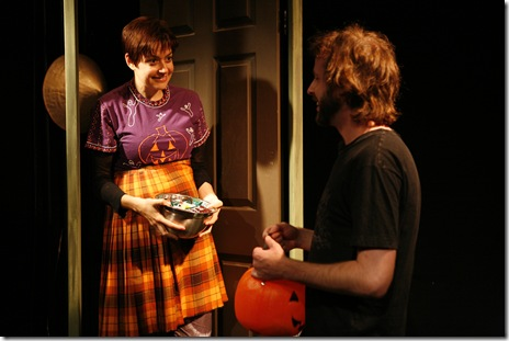 Pictured in The Ruckus' production of All Saints' Day: 44 Poems About Jeffrey Jones are (l to r) Elizabeth Bagby as Non-Tot and Kevin Crispin as Tot.  Photo by Lucas Gerard Photography.