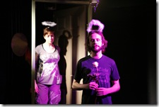 Pictured in The Ruckus' production of All Saints' Day: 44 Poems About Jeffrey Jones are (l to r) Elizabeth Bagby as Non-Tot and Kevin Crispin as Tot. All Saints' Day begins performances on September 2 and runs through September 26 at The Side Project Theatre (1439 W Jarvis Ave). For more information, visit ruckustheater.org. Photo by Lucas Gerard Photography.