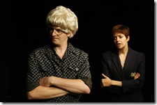 Pictured in The Ruckus' production of All Saints' Day: 44 Poems About Jeffrey Jones are (l to r) Matthew Humphrey as Other and Elizabeth Bagby as Non-Tot. All Saints' Day begins performances on September 2 and runs through September 26 at The Side Project Theatre (1439 W Jarvis Ave). For more information, visit ruckustheater.org. Photo by Lucas Gerard Photography.
