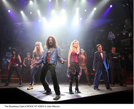 """Cast of """"Rock of Ages"""" at Bank of America Theatre in downtown Chicago"""