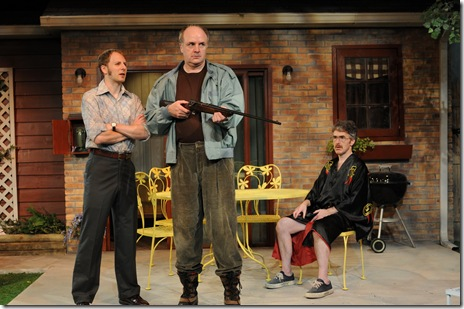(L-R) Bradford Lund, Mick Weber, and Michael Joseph Mitchell star in Steven Peterson's world premiere production of The Invasion of Skokie, at Chicago Dramatists, 1105 W. Chicago Ave., running 09/2-10/10/10, Thursdays through Saturdays at 8 PM and Sundays at 3 PM. Information about the show at www.chicagodramatists.org and 312-633-0630.  Photo by Jeff Pines.