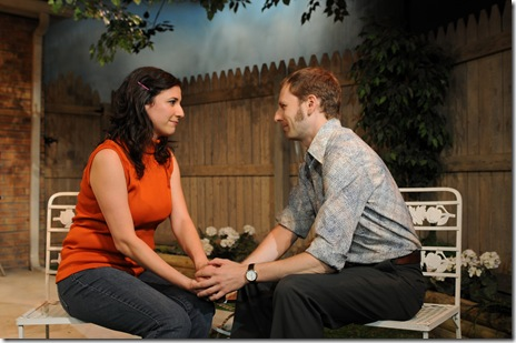 (L-R) Tracey Kaplan and Bradford Lund star in Steven Peterson's world premiere production of The Invasion of Skokie, at Chicago Dramatists, 1105 W. Chicago Ave., running 09/2-10/10/10, Thursdays through Saturdays at 8 PM and Sundays at 3 PM. Information about the show at www.chicagodramatists.org and 312-633-0630.  Photo by Jeff Pines.