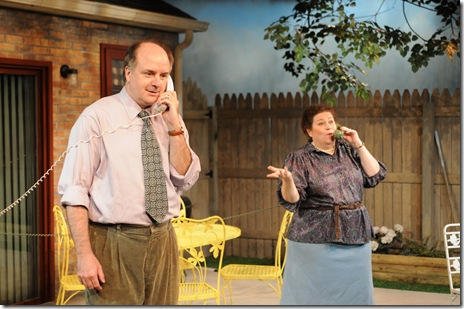 (L-R) Mick Weber and Cindy Gold star in Steven Peterson's world premiere production of The Invasion of Skokie, at Chicago Dramatists, 1105 W. Chicago Ave.,  running 09/2-10/10/10, Thursdays through Saturdays at 8 PM and Sundays at 3 PM. Information about the show at www.chicagodramatists.org and 312-633-0630.  Photo by Jeff Pines.