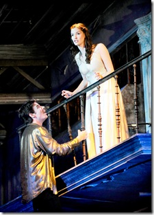 Juliet (Joy Farmer-Clary) discovers Romeo (Jeff Lillico) at her balcony. Photo by Liz Lauren.