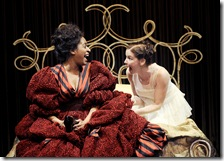 Nurse (Ora Jones, left) tells Juliet (Joy Farmer-Clary) that Romeo has arranged to marry her that very day.