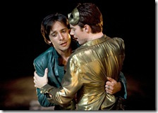 Mercutio (Ariel Shafir, left) is restrained by Romeo (Jeff Lillico) before the Capulet ball.  Photo by Liz Lauren.