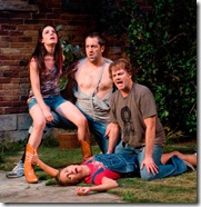 (counterclockwise from upper left) – Ensemble members Kate Arrington, Ian Barford, Kevin Anderson and Laurie Metcalf in Steppenwolf Theatre Company's production of Detroit by Lisa D'Amour, directed by ensemble member Austin Pendleton. Photo by Michael Brosilow.