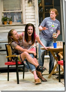(left to right) – Ensemble members Laurie Metcalf, Kate Arrington and Kevin Anderson in Steppenwolf Theatre Company's production of Detroit by Lisa D'Amour, directed by ensemble member Austin Pendleton. Photo by Michael Brosilow.