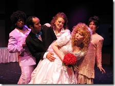 Wedding Singer (L-R) Toni Lynice Fountain, Michael Mejia, Rachel Quinn, Melody Latham and Patti Roeder